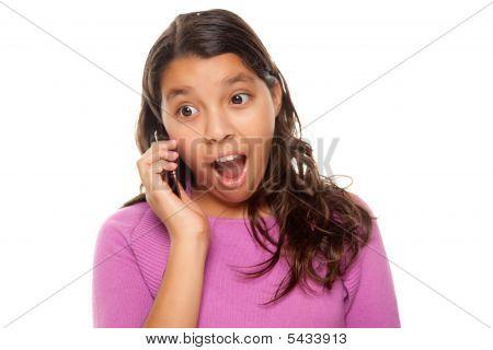 Shocked Pretty Hispanic Girl On Cell Phone