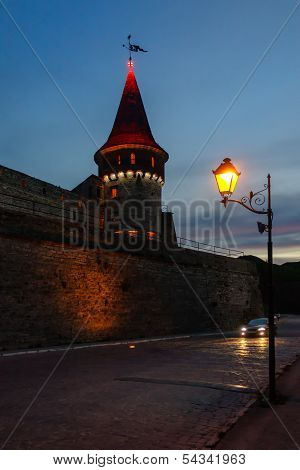 Old Medieval Castle In Evening, Kamyanets-podilsky, Ukraine