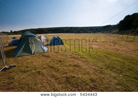 Tents On A Meadow - An Open Air Festival Camp