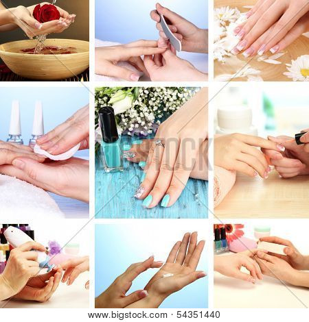 Collage of beautiful woman manicure poster