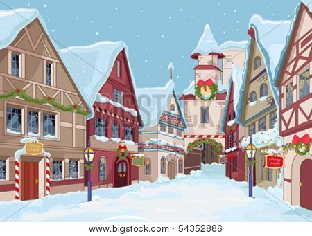 Christmas town street at winter day
