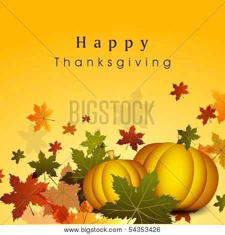 Happy Thanksgiving Day celebration flyer, banner or poster with pumpkins and autumn leaves on yellow background.