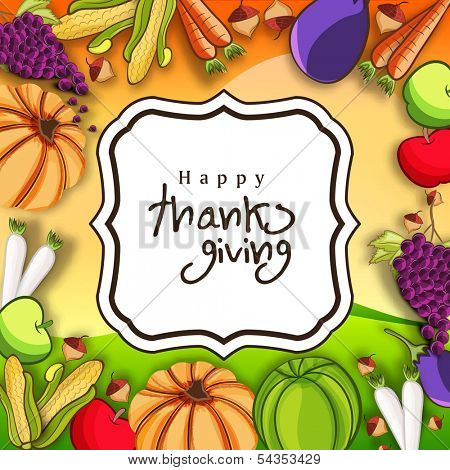 Beautiful Happy Thanksgiving Day celebration concept with fruits and vegetables on yellow with note for your wishes, can be use as flyer, banner or poster.