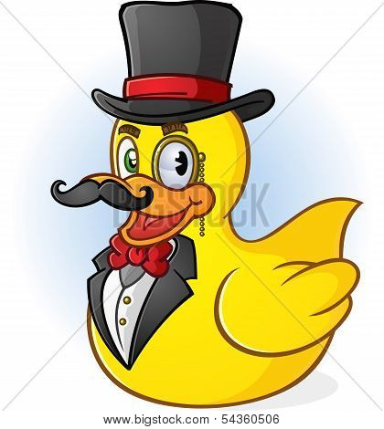 a rich gentleman rubber duck cartoon character with a handlebar mustache, bow tie and top hat poster