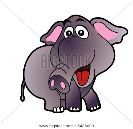 Cute elephant character design on white background. Vector illustration poster