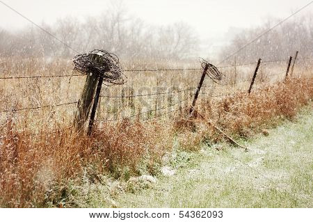 Country Fence In The Snowy Winter