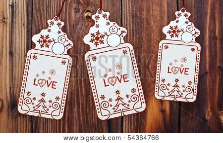 Three Christmas Cards With Love Sticker
