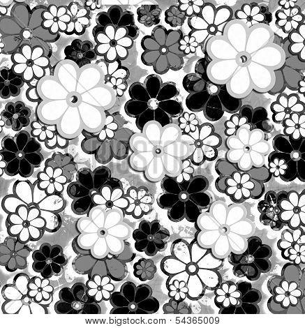 Black And White Overprint Flower Art Pattern