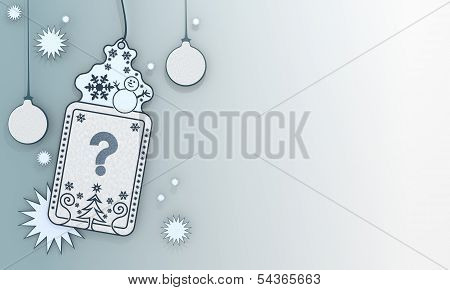 Blue Xmas Coupon With Question Sign