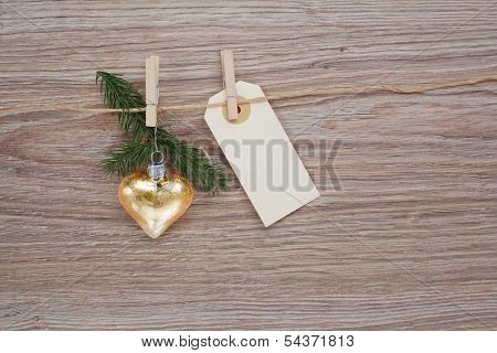 christmas golden heart with tag