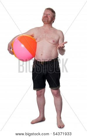 Overweight Middle Aged Man With Beach Ball, Checks For Rain