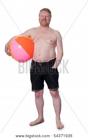 Happy Overweight Middle Aged Man With Beach Ball
