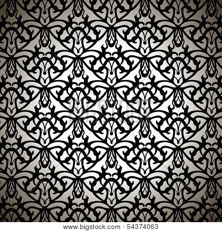 Elaborate Black Forged Pattern On White Background