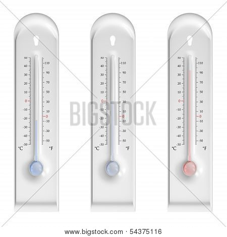 Plastic Thermometers On White Background