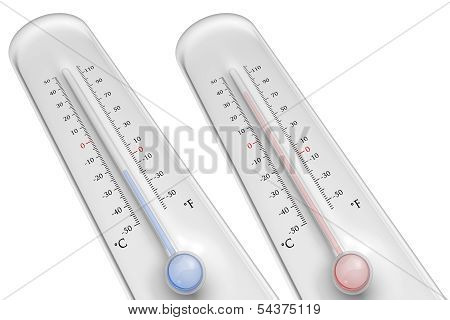 Thermometers On White Background