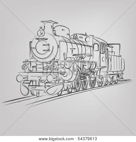 Vector Locomotive Sketch