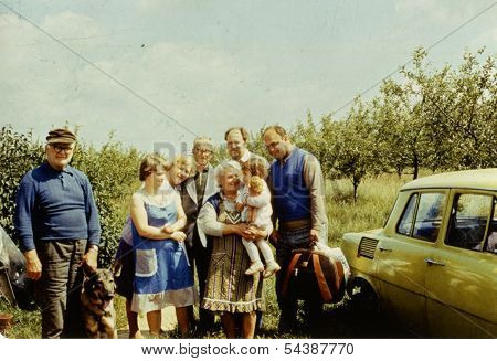 ANIELIN, POLAND, CIRCA SEVENTIES: vintage photo of big multigenerational family outdoor, Anielin, Poland, circa seventies