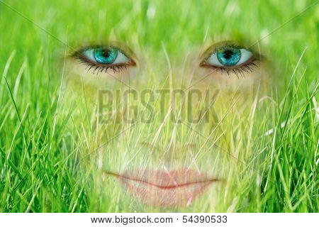 Smiling Young Woman Who Absorbed By Grass