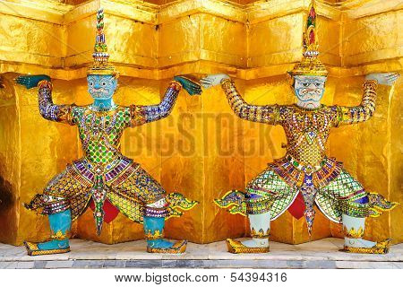 Two Guardians Of Grand Palace, Bangkok Thailand