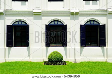 Thai Retro Style Building Wall Window