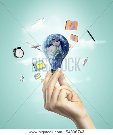Lighbulb In Form Of Earth
