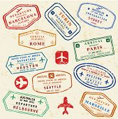 Colorful fictitious visa stamps set. International business travel concept. Frequent flyer visas. poster