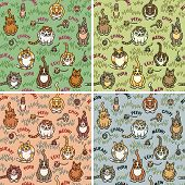 "Cute cats and critters seamless pattern in four color ways. Repeat size is 8"". Font used is my own creation. poster"