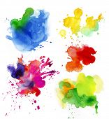 Set of watercolor colorful drops and spray on a white background. poster