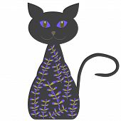 Silhouette of a cat with delicate lilac flowers vector isolated poster