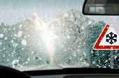 Winter driving - Poor view causes dangerous driving situations. poster