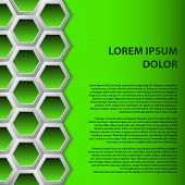 Abstract brochure background design with green hexagons poster