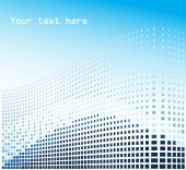 Mosaic background with blue squares and place for text poster