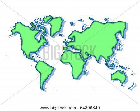Schematic World Map In Green