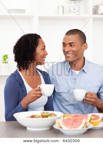 Smiling Lovers Having Healthy Breakfast