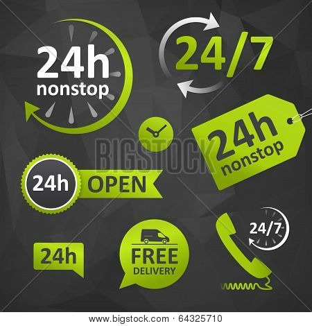 Call Us, Open Hours, Free Delivery - Twenty Four Hours
