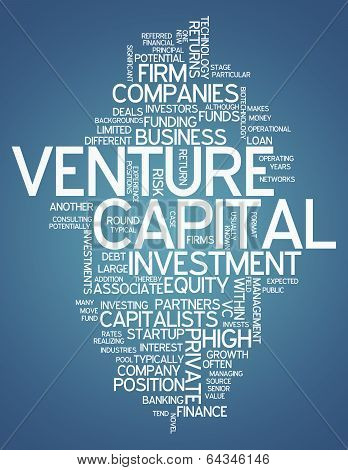 Word Cloud with Venture Capital related tags poster