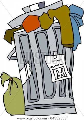 Vector illustration of a wastebasket