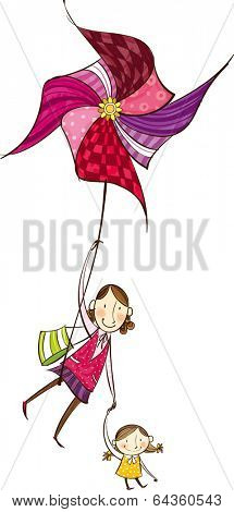The mother is holding a hand of daughter with pinwheel