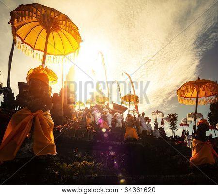 Hindu temple Pura Besakih during ceremony at sunny day, Bali, Indonesia