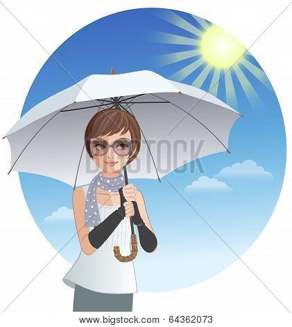Cute Woman Holding Sunshade Umbrella Under Strong Sunlight