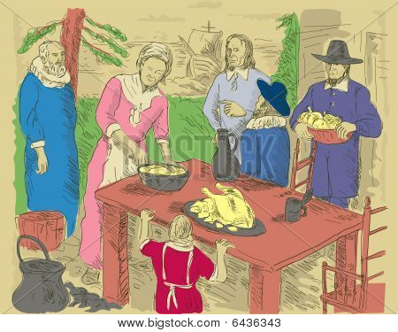 Pilgrims celebrating first thanksgiving dinner