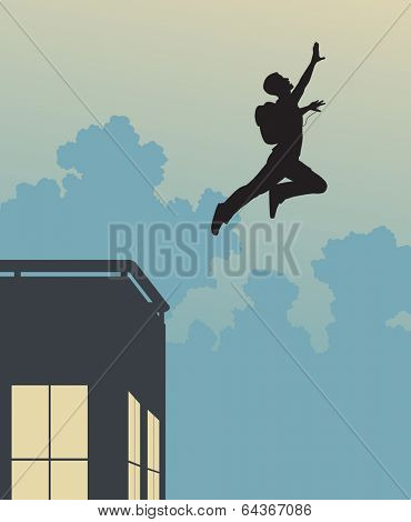 Illustrated silhouette of a base-jumper leaping off a building