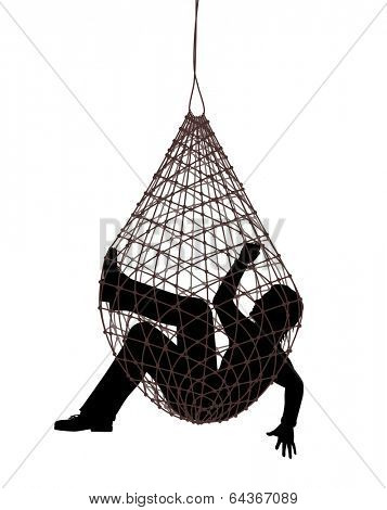 Illustration of a man caught in a net trap