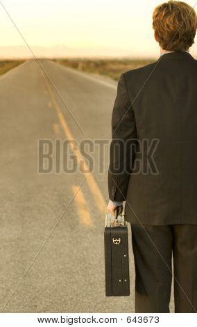 Businessman Lost In Desert