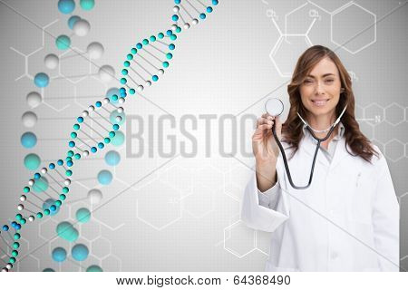 Happy doctor using stethoscope against dna helix in blue with chemical structures poster
