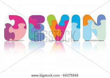 DEVIN written with alphabet puzzle - vector illustration