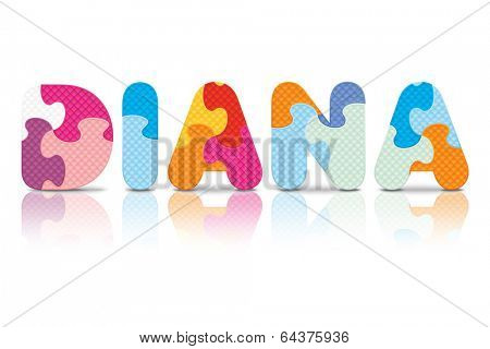 DIANA written with alphabet puzzle - vector illustration