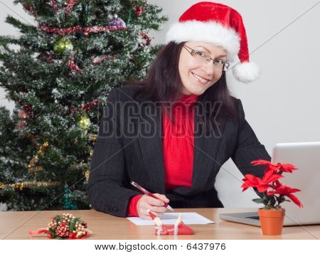 Business Woman While Winter Holidays