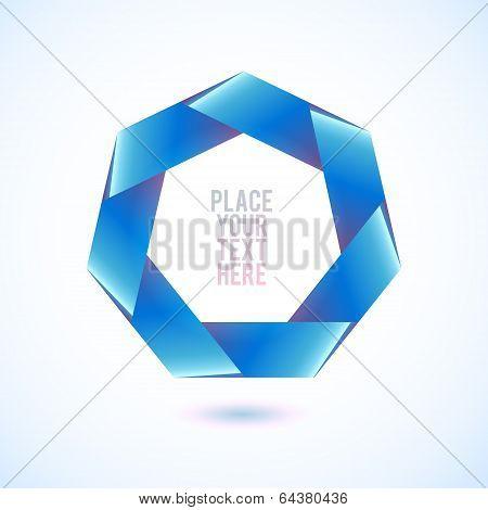 Blue heptagon shape on white background
