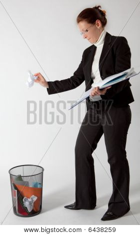 Business Woman Throwing Papers